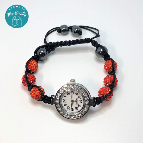 Orange Czech Rhinestones Crystals Disco Paved Bead Watch