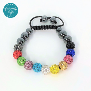Multicolor Czech Rhinestones Crystals Disco Paved Bead Bracelet