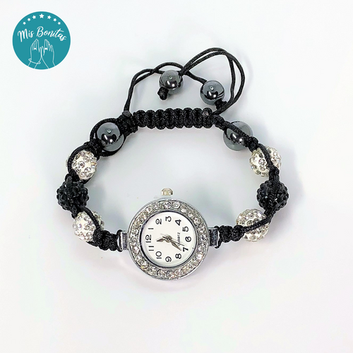 Black and White Czech Rhinestones Crystals Disco Paved Bead Watch