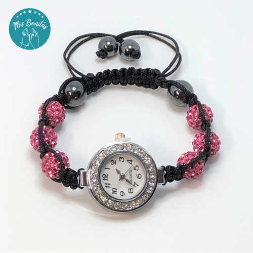 Dark Pink Czech Rhinestones Crystals Disco Paved Bead Watch
