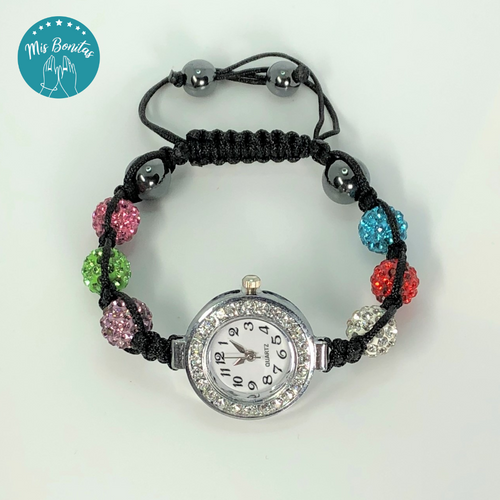 Multicolor Czech Rhinestones Crystals Disco Paved Bead Watch