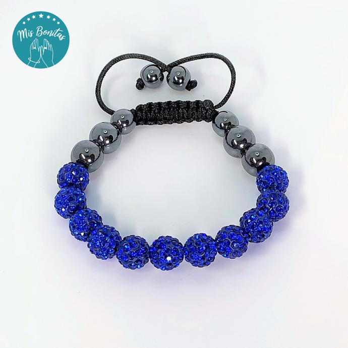 Dark Blue Czech Rhinestones Crystals Disco Paved Bead Bracelet