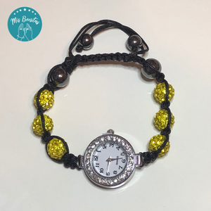 Yellow Czech Rhinestones Crystals Disco Paved Bead Watch