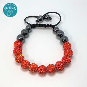 Orange Czech Rhinestones Crystals Disco Paved Bead Bracelet