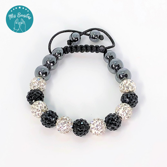 Black and White Czech Rhinestones Crystals Disco Paved Bead Bracelet