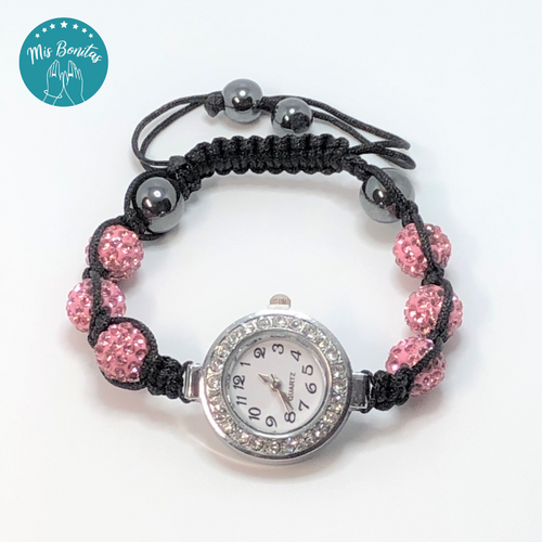 Light Pink Czech Rhinestones Crystals Disco Paved Bead Watch