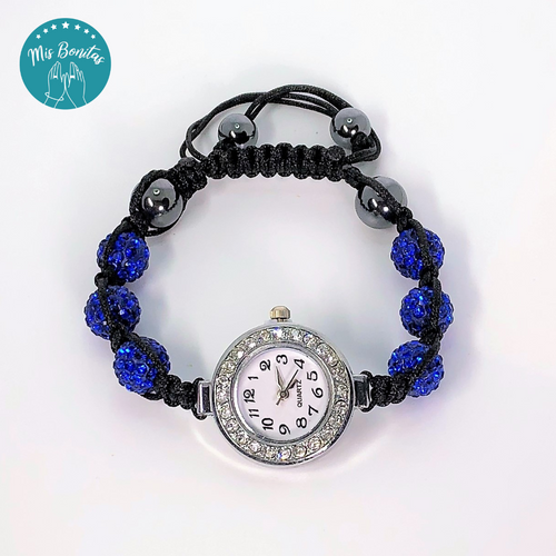 Dark Blue Czech Rhinestones Crystals Disco Paved Bead Watch