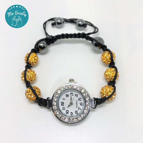Gold Czech Rhinestones Crystals Disco Paved Bead Watch