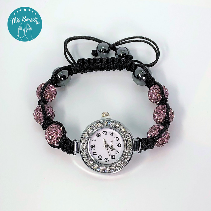 Lilac Czech Rhinestones Crystals Disco Paved Bead Watch
