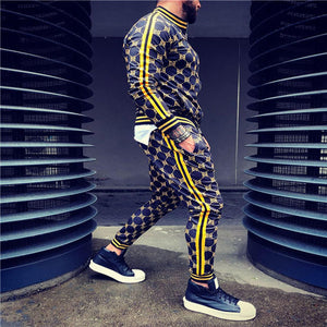 Colorful Plaid Men Casual Tracksuit Set With Sweatshirt Pockets