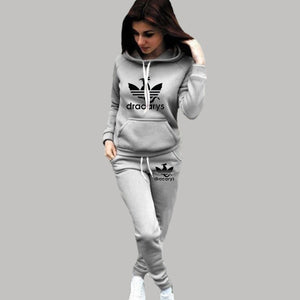 2 Piece Set Women Hoodie Pants Printed Tracksuit