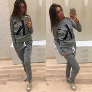 2 piece suit women autumn winter sweater letter print stitching