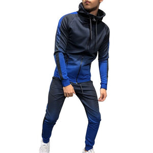 Autumn Casual Men 3D Gradient Sweatsuit Hoodies Sweatshirt  Slim Joggers Pants