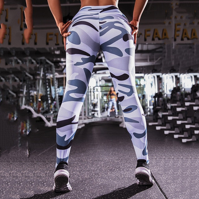 Leggings Sport  Push Up Anti Cellulite Pants Activewear Camouflage