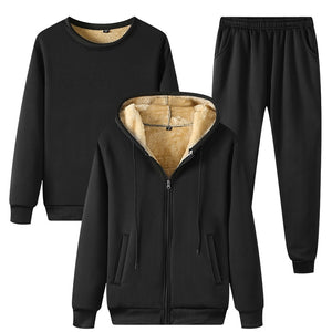 Winter Thick Warm Fleece Men's Tracksuit Sets 3 Piece Hooded Jacket+Sweatshirt+Pants Casual Male Set