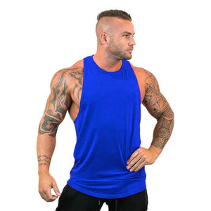Mens Gym Tank Top Bodybuilding Sleeveless Shirt Cotton Print Muscle Vest