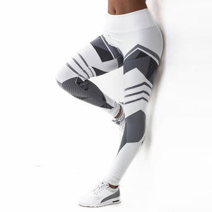 Women High Waist Leggings Push Up Pants Fitness Gothic Patchwork
