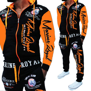 ZOGAA  Men Tracksuit Tops and Pant Letter Printed Suit