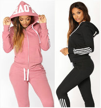 Load image into Gallery viewer, Elegant Top And Pants Women Suit Stripe Fitness Casual Sweat Suits
