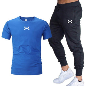 Pants Men Sweatpants+men running t-shirts men sets  Sportswear