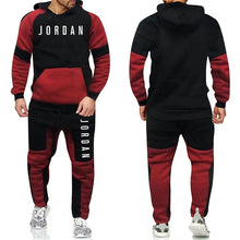 Load image into Gallery viewer, Tracksuit Warm and Velvet Men Patchwork Set Hoodie Sweatshirt