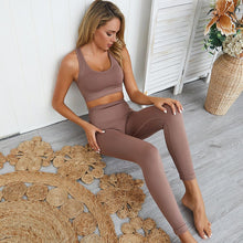 Load image into Gallery viewer, seamless hyperflex workout set sport leggings and top set yoga outfits for women sportswear athletic clothes gym
