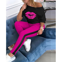 Load image into Gallery viewer, New Trendy 2 piece set Women Tracksuit Lip Print Cold Shoulder Top & Colorblock Striped Pant Sets