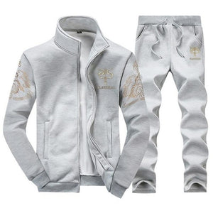 Autumn Tracksuit Men Sportswear Fashion Set Two Pieces Zipper Warm Sweatshirt Jacket+Sweatpants Moleton Masculino