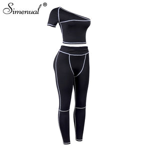 Simenual Sporty Fashion  Black Fitness Tracksuits One Shoulder 2 Piece Set Women Workout Crop Top And Leggings Sets