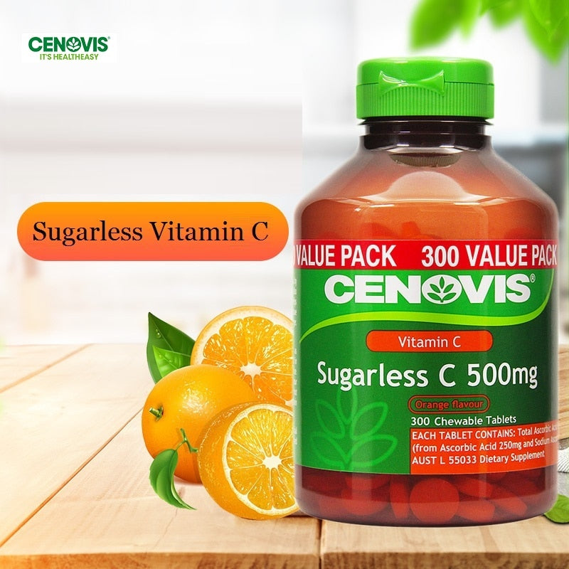 CENOVIS Sugarless Vitamin C 500mg 300 CHEWABLE Tablet COLDS IMMUNITY Health SUPPLEMENTS Antioxidant Supports