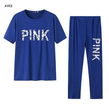 Load image into Gallery viewer, Women Set PINK Letter Print Sweatsuit Women Casual Plus Size Tops Skinny Pants Sweat Suit Two Piece Tracksuit 2 Piece Set S-XXXL