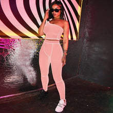 Load image into Gallery viewer, Simenual Sporty Fashion  Black Fitness Tracksuits One Shoulder 2 Piece Set Women Workout Crop Top And Leggings Sets