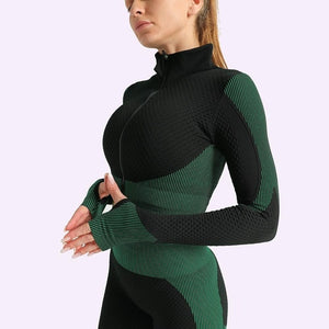 Women Seamless Set Fitness Leggings+Long Sleeve Cropped Top With Zipper Tracksuit Active Wear