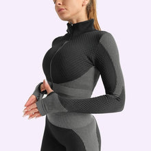 Load image into Gallery viewer, Women Seamless Set Fitness Leggings+Long Sleeve Cropped Top With Zipper Tracksuit Active Wear