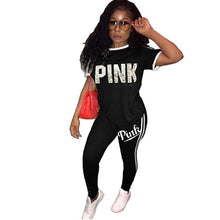 Load image into Gallery viewer, Casual PINK Printing Women 2pcs Outfit Short Sleeve T-Shirts And Long Skinny Pants Suits Fitness Plus Size XXXL Tracksuit