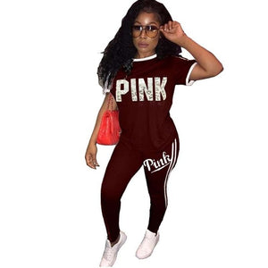 Casual PINK Printing Women 2pcs Outfit Short Sleeve T-Shirts And Long Skinny Pants Suits Fitness Plus Size XXXL Tracksuit