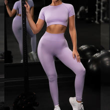 Load image into Gallery viewer, Sportswear Women Workout Set High Waist Pants Short Top Tight Quick Dry