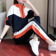 Load image into Gallery viewer, Semfri Two Piece Set Tracksuit Women  Autumn Cotton Hoodies Sports Suit Loose Style Striped Clothes