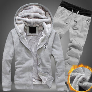 2020 Plus Size Men Casual Warm Tracksuit Fleece Zipper Hooded Coat Drawstring Pants 2 Piece Sets