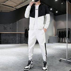 Patchwork Hip Hop Casual Men's Sets Korean Style 2 Piece Sets Clothes Men Streetwear Fitness Male Tracksuit