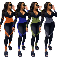 Load image into Gallery viewer, 2 Piece Outfit for Women Sportwear Patchwork Zipper V Neck Top Pencil Leggings Fitness Matching Set