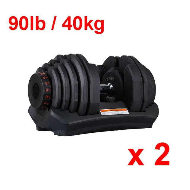 Adjustable Dumbbell Set  90lb /40kg Workout Weights Exercise Gym Fitness Equipment