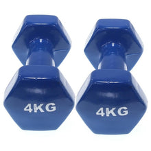 Load image into Gallery viewer, Set of 2 vinyl coated dumbbells | Exercise Fitness | Home training | Gym | Weights of 0.5 to 6 Kg