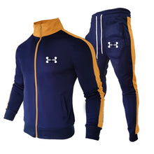 Load image into Gallery viewer, Sports Brand  New Suit Men's Stitching Fashion Casual Track Suit Polyester Fabric Zipper Cardigan Sportswear & Sports Pants