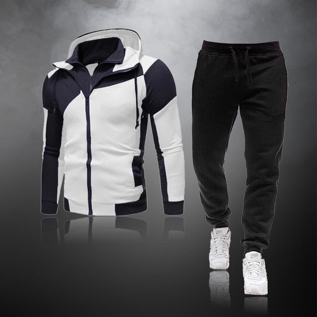 Casual Tracksuit Men Sets Hoodies And Pants 2 Piece/Sets Zipper Hooded Sweatshirt Outfit Sportswear Male Suit Clothing