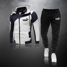Load image into Gallery viewer, Casual Tracksuit Men Sets Hoodies And Pants 2 Piece/Sets Zipper Hooded Sweatshirt Outfit Sportswear Male Suit Clothing