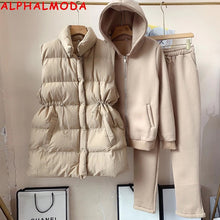 Load image into Gallery viewer, ALPHALMODA New Arrival Padded Vest Zip Hooded Trousers Women Winter Warm 3pcs Sweatpants Suit Solid Color M-XL