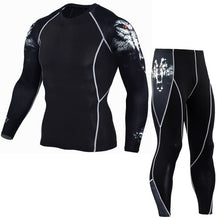 Load image into Gallery viewer, Men's Fitness Set long sleeve +  pants  Men's Compression Apparel sportswear