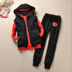 Fashion  women's tracksuits  with a hood fleece sweatshirt three pieces set