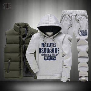 Winter Thick Warm Tracksuit Men 3 Piece Hooded Hoodies +Vest+Pant